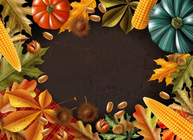 День благодарения фон с рамкой из различных продуктов и листьев векторная иллюстрация Бесплатные векторы