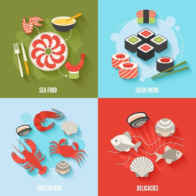 Морепродукты плоские иконки набор с суши меню омаров бар деликатесы изолированных векторных иллюстраций Бесплатные векторы