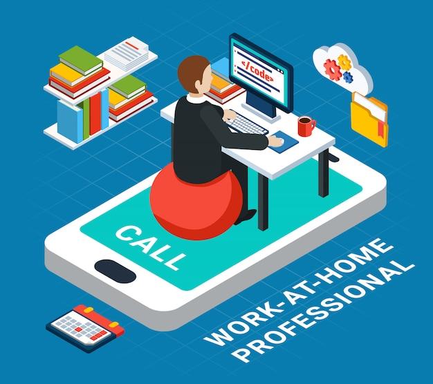 Деловые люди изометрии, человеческий характер офисного работника, работающего на дому с смартфон векторной иллюстрации Бесплатные векторы