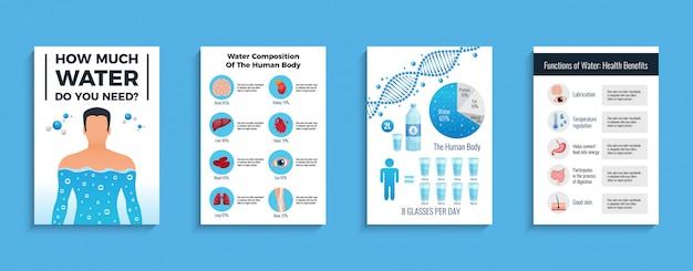 水の利点、フラット分離ベクトルイラスト入り体と水のポスター 無料ベクター