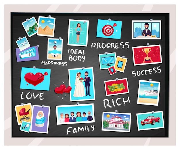 夢と成功と家族、フラット分離ベクトルイラストビジョン黒板 無料ベクター