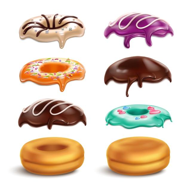 Печенье пончики печенье глазурь вариации конструктор реалистичный набор с шоколадной глазурью мята апельсин карамельный глазурь векторная иллюстрация Бесплатные векторы
