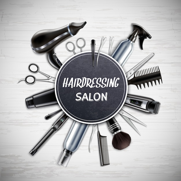 Парикмахерская парикмахерская инструменты реалистичные круглые композиции с ножницами фен триммер монохромный векторная иллюстрация Бесплатные векторы