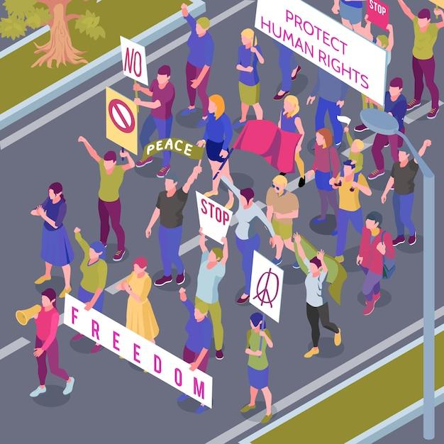 Протестующие люди с плакатами и флагами во время уличного шествия в защиту прав человека изометрии векторная иллюстрация Бесплатные векторы