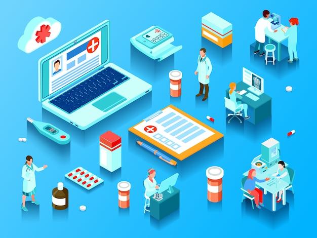 Интернет-медицина элементы врачей с компьютерами и лабораторным оборудованием таблетки и электронные устройства горизонтальной изометрии векторная иллюстрация Бесплатные векторы