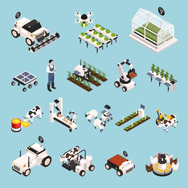 Смарт-ферма с технологией изометрической иконки, изолированных векторная иллюстрация Бесплатные векторы