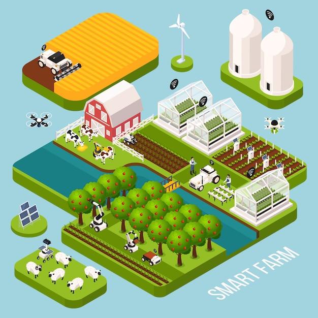 Смарт-ферма изометрической набор с сельское хозяйство фермы здания, изометрической изолированных векторная иллюстрация Бесплатные векторы