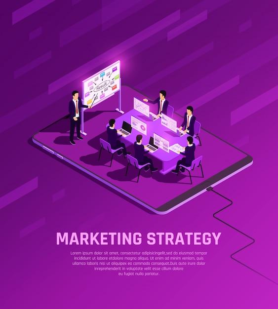 Маркетинговая концепция изометрической свечение композиция с бизнесменами символов, имеющих представление в конференц-зале с редактируемым текстом векторные иллюстрации Бесплатные векторы