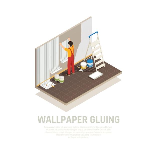 Изометрические композиция строительных материалов с редактируемым текстом и человеческим характером работника, охватывающих стены с бумагой векторная иллюстрация Бесплатные векторы
