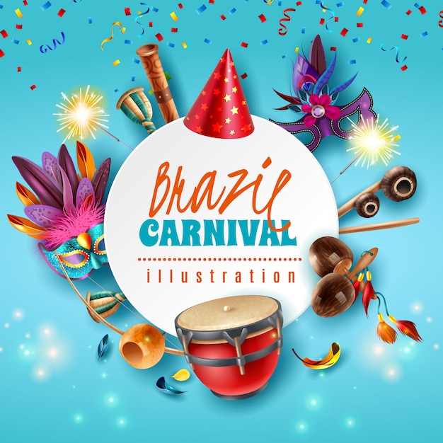 Бразилия карнавал праздник праздничные аксессуары круглая рамка с блестящими огнями партии шляпы маски музыкальные инструменты векторная иллюстрация Бесплатные векторы