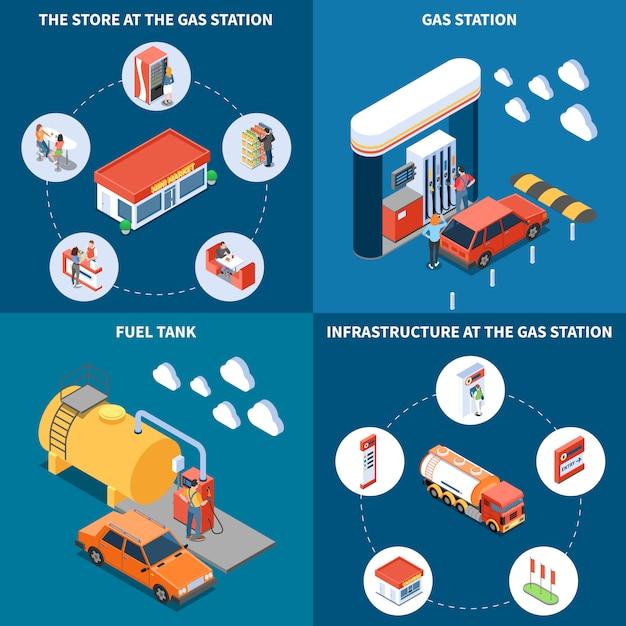 Автозаправочная станция с объектами инфраструктуры, включая топливный бак и магазин изометрической концепции дизайна, изолированных векторная иллюстрация Бесплатные векторы