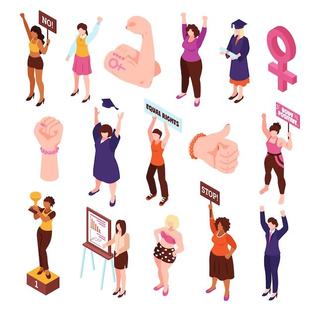 孤立した拳と平等な権利のために抗議し、ピケットの女性のキャラクターの等尺性フェミニズムセットベクトルイラスト 無料ベクター