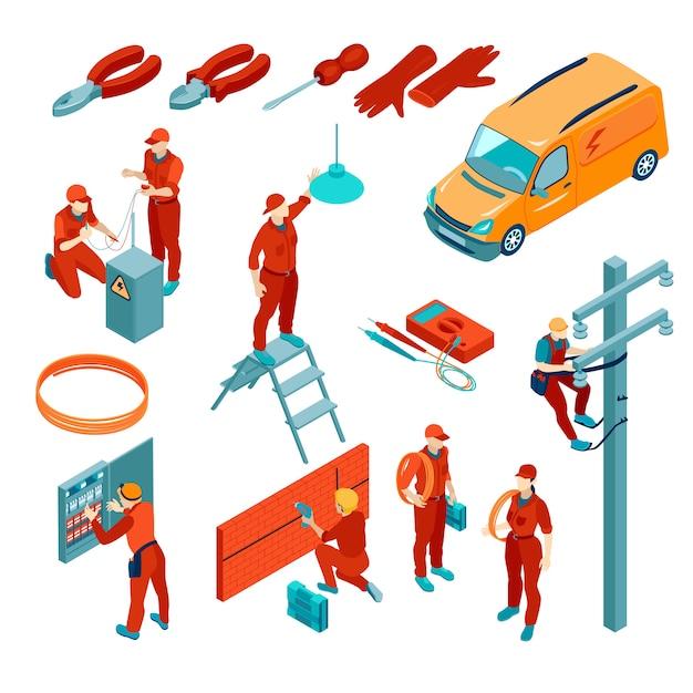 Изометрические набор иконок с электрическими инструментами и электриками на работе изолированы Бесплатные векторы