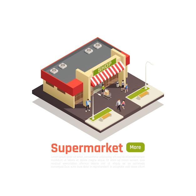 等尺性ストアモールショッピングセンターコンセプトバナーストア建物のベクトル図と地球の正方形の部分 無料ベクター