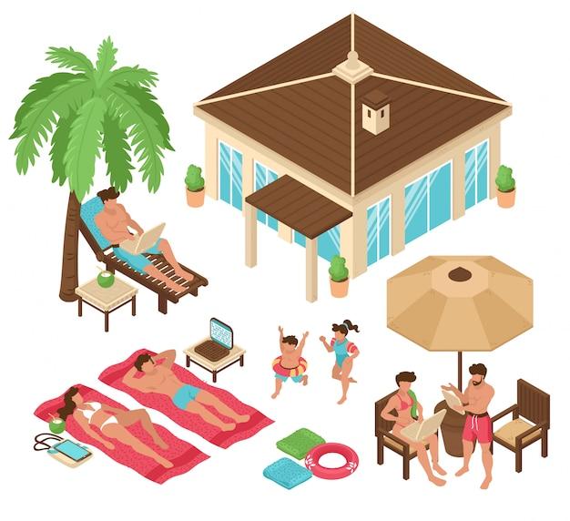 孤立した等尺性ビーチハウス熱帯フリーランスの人々のセット人間のキャラクターのベクトル図とカラフルな画像を作業します。 無料ベクター