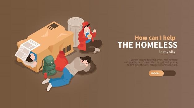 等尺性のホームレスの人々水平バナーダンボール箱とテキストのベクトル図の廃棄物の間で人々のビュー 無料ベクター