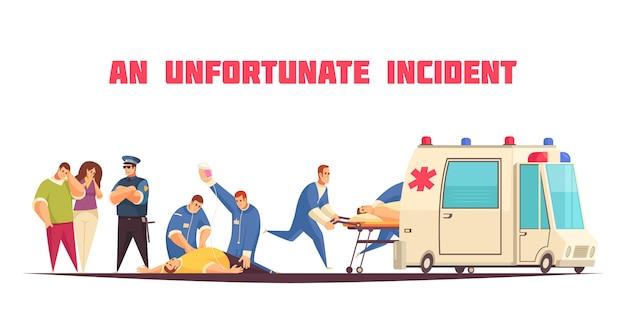 Плоская цветная композиция скорой помощи с описанием неудачного инцидента и векторной иллюстрацией ухода за пациентом Бесплатные векторы