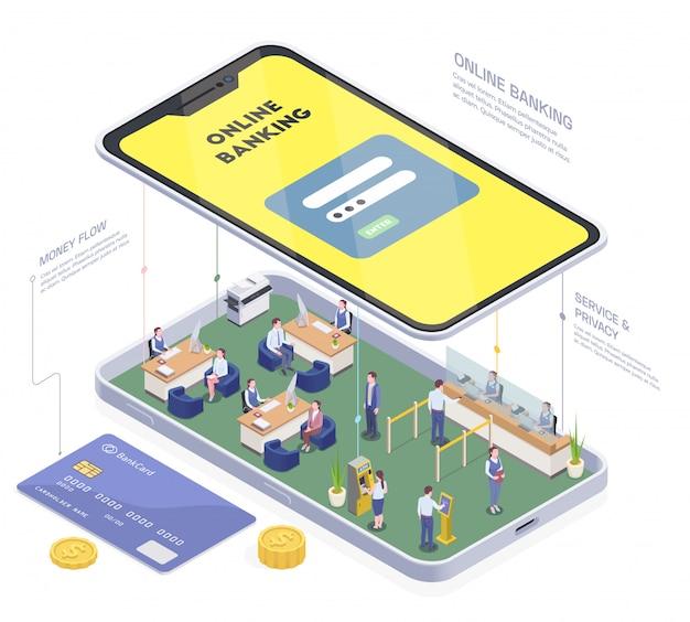銀行支店内部の人々とテキストベクトル図と電話の概念図と金融等尺性組成物を銀行 無料ベクター