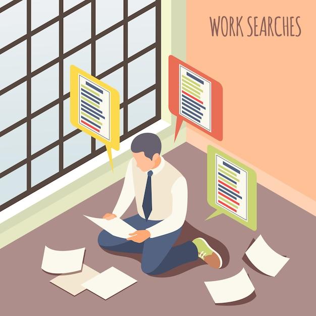 Работа ищет изометрического мужского человека с учетом вакансий, сидя на полу векторная иллюстрация Бесплатные векторы