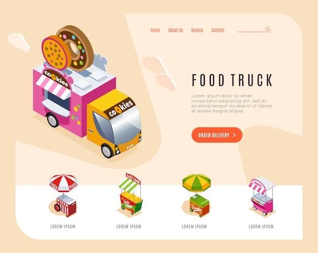 Целевая страница рекламы грузовика еды с изометрическими изображениями уличного фургона и тележек, торгующих векторной иллюстрацией пекарни Бесплатные векторы