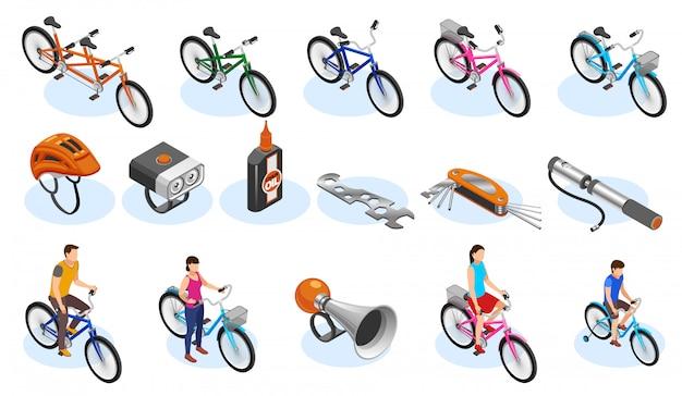 自転車等尺性のアイコンセットツールアクセサリーと自転車の種類のベクトルイラスト 無料ベクター