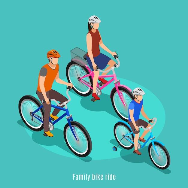 Активная семья изометрии с отцом, сыном и дочерью езда на велосипеде в шлемах векторная иллюстрация Бесплатные векторы