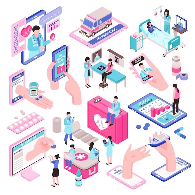 Интернет-медицина и набор цифровых изометрических элементов здоровья Бесплатные векторы