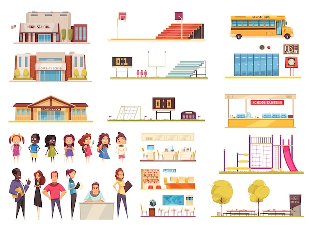 Школьная территория элементов классов библиотеки и столовой учителя и учеников набор мультяшных иконок Бесплатные векторы