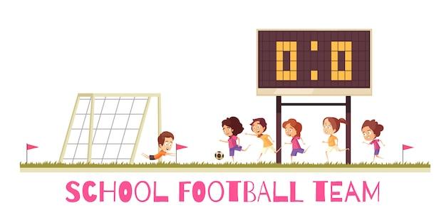 Школьная спортивная игра футбольной команды на спортивной площадке во время матча мультяшной композиции на белом фоне Бесплатные векторы