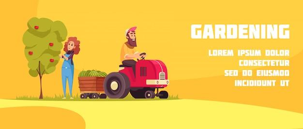 Садоводство горизонтальный баннер с фермерами во время сбора фруктов на желтом фоне мультфильма Бесплатные векторы