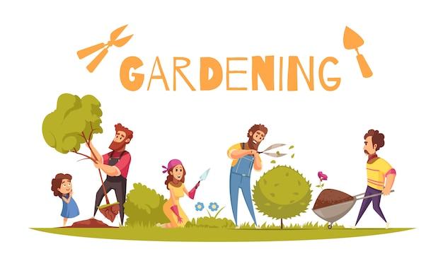 Садоводство мультяшный композиция для взрослых и малыша во время различных фермерских действий на белом фоне Бесплатные векторы