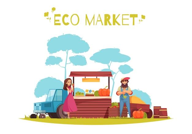 Человеческие персонажи и урожай садоводства на эко рынке мультяшныйа композиция на синем белом фоне Бесплатные векторы