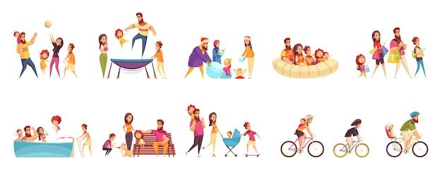 Набор мультяшных иконок семейного активного отдыха родителей с детьми в различных мероприятиях Бесплатные векторы