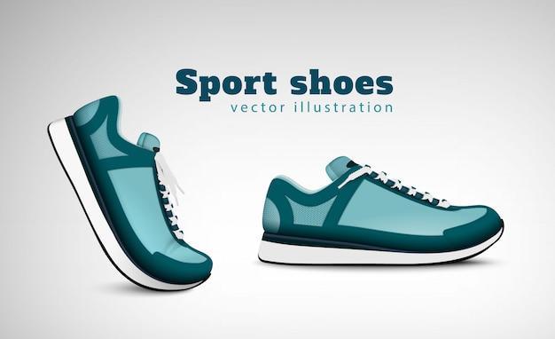 Спортивные тренировочные кроссовки для тенниса, рекламирующие реалистичную композицию с парой модных удобных повседневных кроссовок для иллюстрации Бесплатные векторы