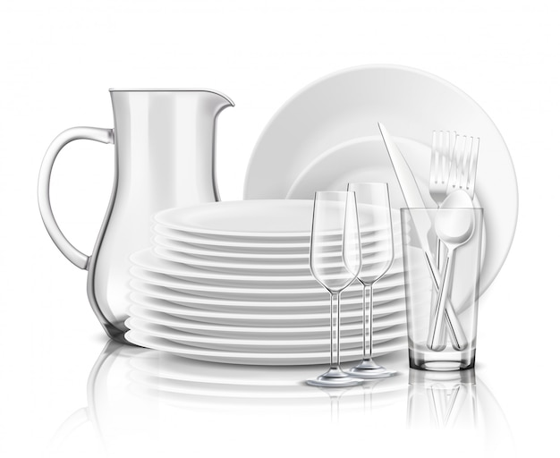 白いプレートガラスの水差しとワイングラスのイラストのスタックできれいな食器現実的なデザインコンセプト 無料ベクター
