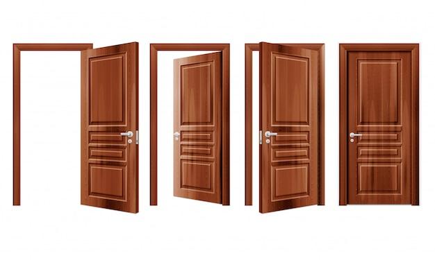 モダンな木製開閉ドア現実的なセット分離図のドア 無料ベクター