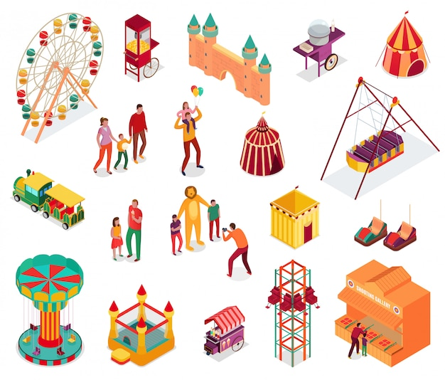 Набор изометрических элементов парка развлечений с посетителями уличной еды и аттракционов изолированных иллюстрация Бесплатные векторы