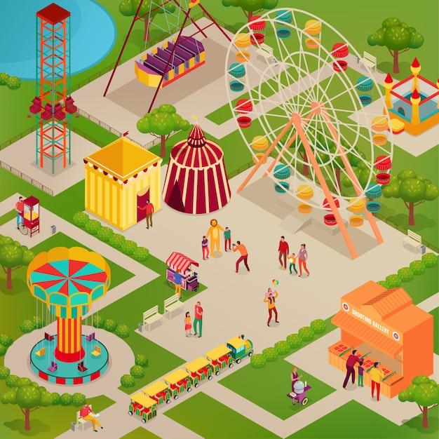 Парк развлечений с цирком и различными аттракционами уличной едой для взрослых и детей изометрии Бесплатные векторы