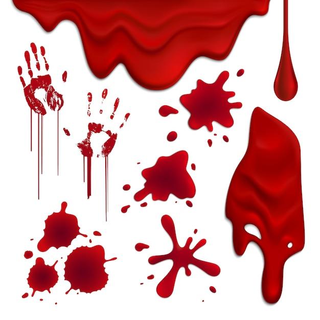 Реалистичные капли крови и помарки установить иллюстрации Бесплатные векторы
