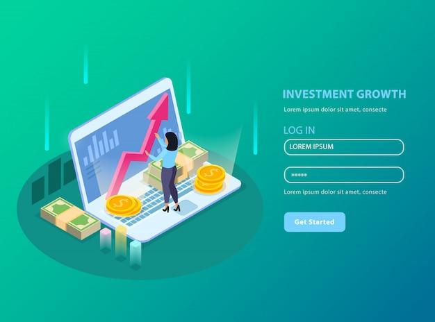 Фондовая биржа изометрии с заголовком роста инвестиций и иллюстрацией формы регистрации Бесплатные векторы