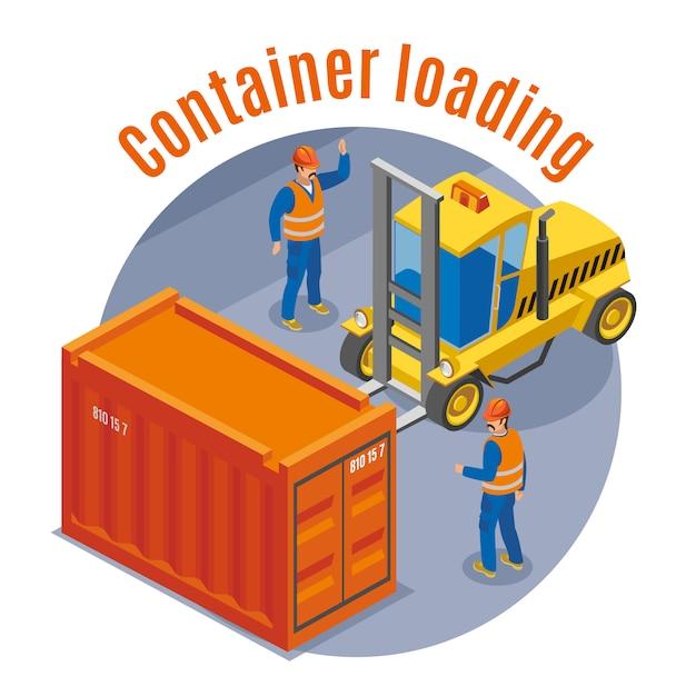 Цветная изометрическая эмблема морского порта с описанием загрузки контейнера и круглой иллюстрацией Бесплатные векторы