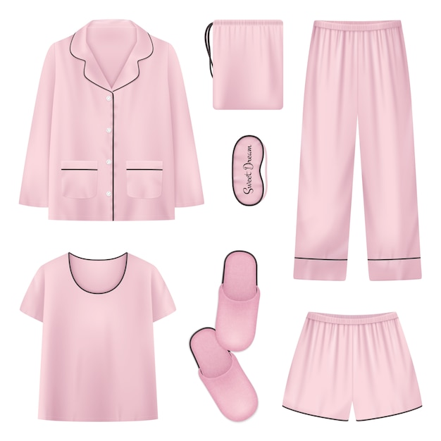 Розовый и изолированные реалистичные пижамы домашние тапочки значок сна время с рубашкой тапочки брюки иллюстрации Бесплатные векторы