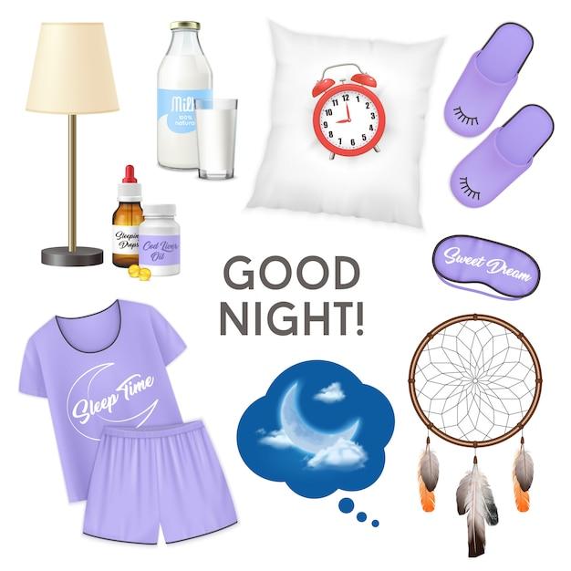 おやすみ現実的なデザインコンセプトミルクパジャマスリッパの枕ガラスの目覚まし時計で分離アイコンセットの図 無料ベクター