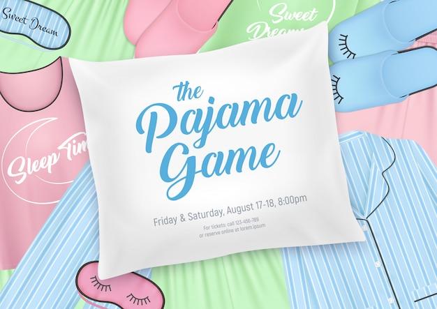 Шаблон приглашения для пижамной вечеринки для детей с элементами ночного белья и датой ночевки на фоне подушки Бесплатные векторы