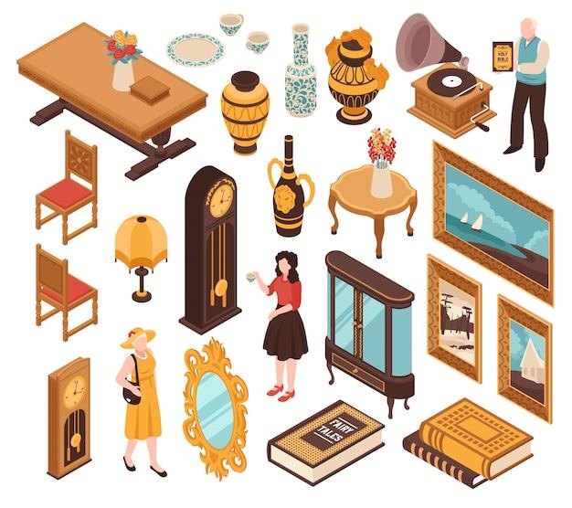 Антикварный изометрический набор старинной мебели поразил часы старинными книгами и предметами интерьера для дома изолированными Бесплатные векторы