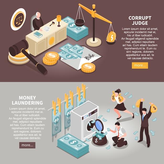 公的資金の盗難および腐敗した裁判官等尺性に関するテキスト情報を含む破損水平バナー 無料ベクター