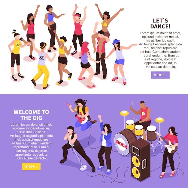 ロックバンドと等尺性の観客のダンスの群衆と野外音楽祭水平バナー 無料ベクター
