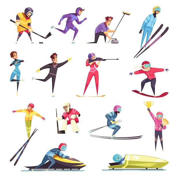 Зимние виды спорта, изолированные на лыжах, сноуборде и коньках Бесплатные векторы