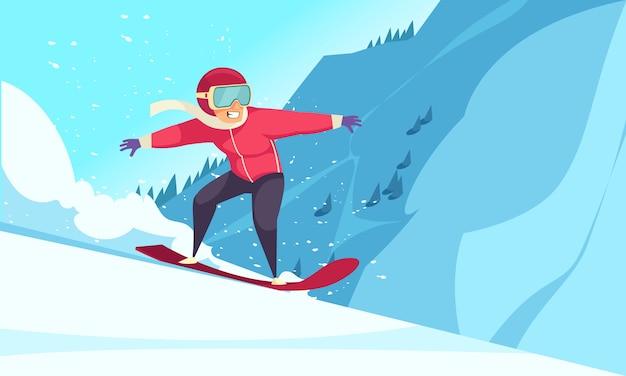 Зимние экстремальные виды спорта с плоской символикой сноуборда Бесплатные векторы