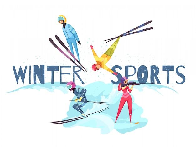 Зимние виды спорта с изолированными плоскими символами горнолыжного спорта и биатлона Бесплатные векторы